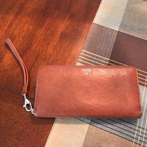 Fossil tan leather zip wallet/wristlet